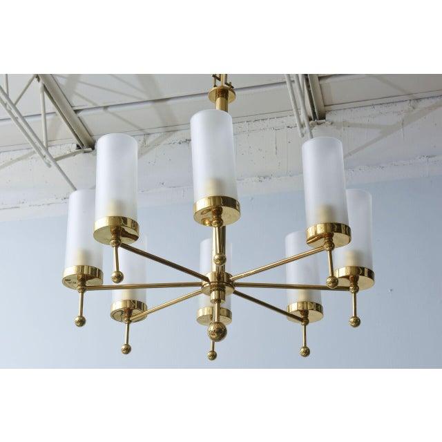 Italian Italian Modern Brass and Glass Eight-Light Chandelier in the Manner of Stilnovo For Sale - Image 3 of 9