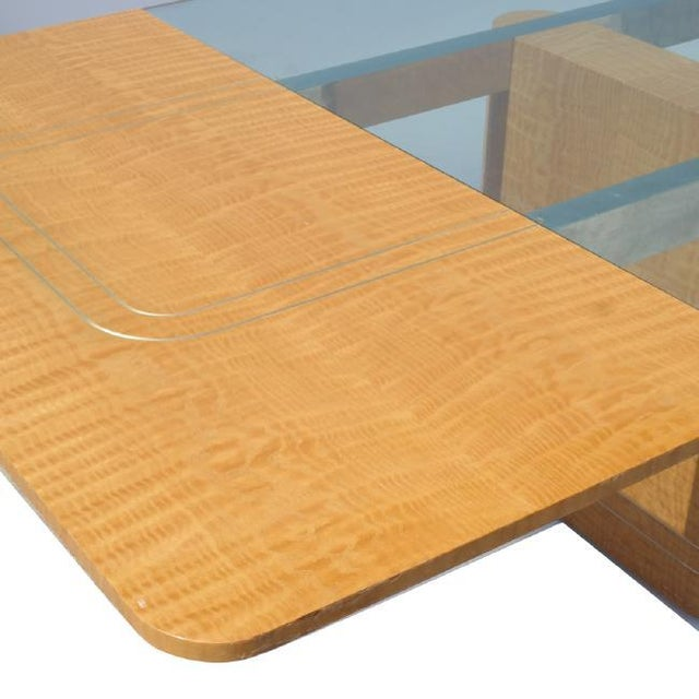 Mid-Century Modern Handmade Drop Leaf Glass Top Dining Table by Vladamir Kagan for Kagan Designs For Sale - Image 3 of 10