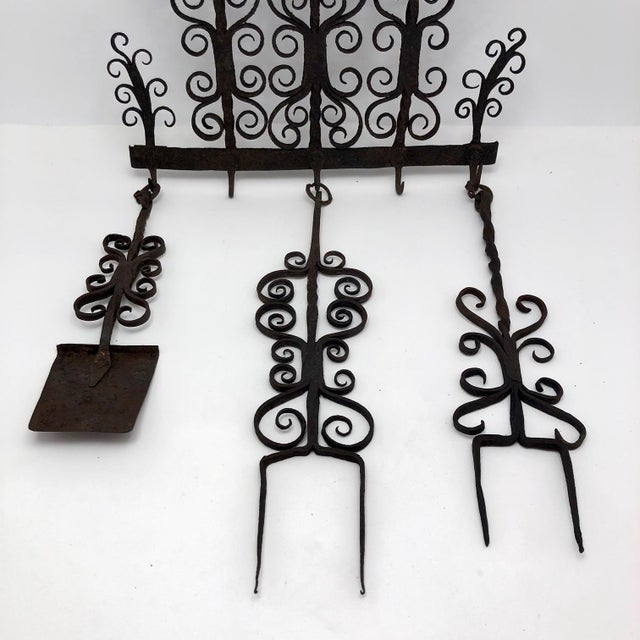 Antique Hand Forged Wrought Iron Utensils Rack, Forks and Spatula For Sale - Image 12 of 13