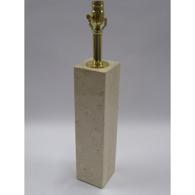 Mid-Century Modern Robsjohn-Gibbings Style Mid-Century Travertine Marble Table Lamp For Sale - Image 3 of 10