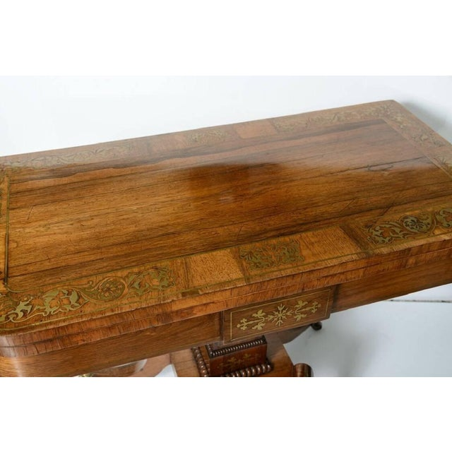 19th Century George IV Rosewood and Brass Games Table For Sale In West Palm - Image 6 of 11
