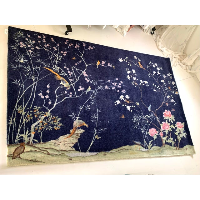 2010s CB2 Chinoiserie Blue Rug For Sale - Image 5 of 5