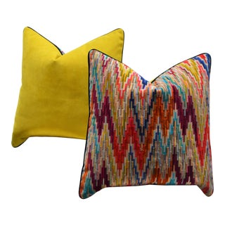 "Pair of 24"" Custom Multi Color Cut Velvet Custom Pillows For Sale"