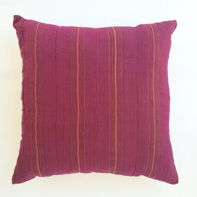 Hand Woven Pink Striped Pillow - Image 2 of 3