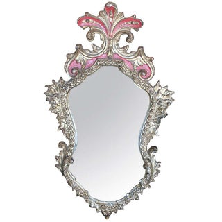 Rococo Style Gilt & Red Frame Mirror For Sale