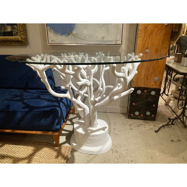 Coral Paper Machete Pedestal Table For Sale In Charlotte - Image 6 of 6