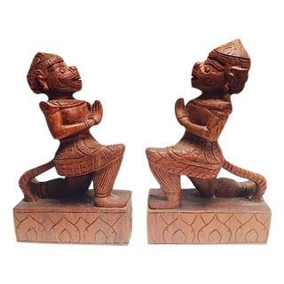 Vintage Carved Wooden Monkey Bookends - A Pair