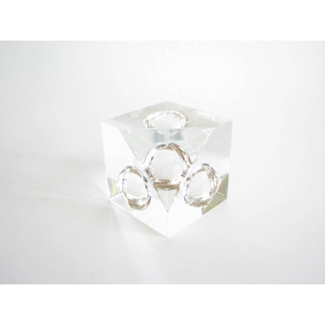 Vintage Steuben Crystal Floating Spheres Cube Prism Paperweight Signed For Sale - Image 13 of 13