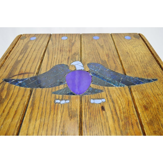 Mosaic Eagle Inlay Wood Accent Table - Image 6 of 9