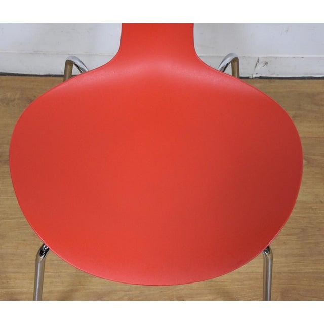 Bernhardt Modern Red Chrome Desk Chair For Sale - Image 5 of 9