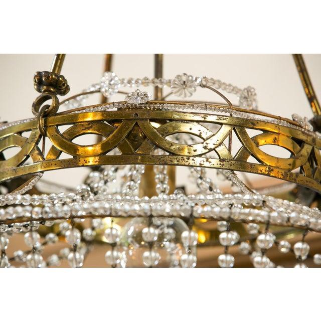 1930s Vintage Glass Beaded Basket Chandelier For Sale - Image 5 of 8