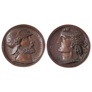 Pair of Bonze Bas Relief of Greek God and Goddess For Sale