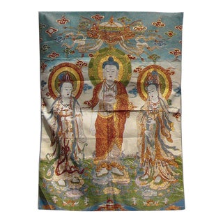 Tapestry Art Chinese Buddha Kwan Yin Loom Graphic cs902