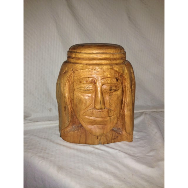 Wood 1980s Vintage Large Carved Wooden Head by Elias For Sale - Image 7 of 7