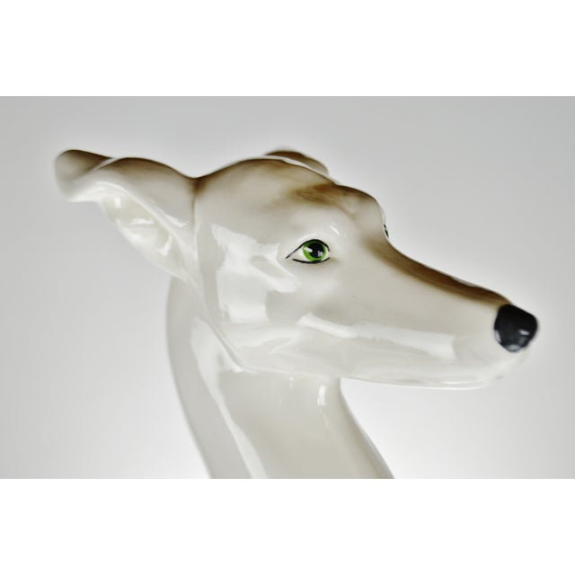 "Ceramic Vintage Italian Ceramic Whippet Greyhound 28"" Dog Sculpture For Sale - Image 7 of 13"