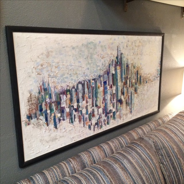 Mid-Century Abstract Cityscape Painting - Image 3 of 9