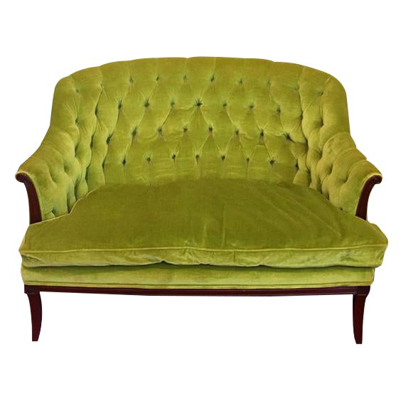 Green chartreuse velvet button tufted chesterfield settee for Button tufted chaise settee green