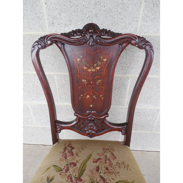 Vintage French Louis XV Style Carved Mother of Pearl Inlay Vanity Chair - Image 2 of 10