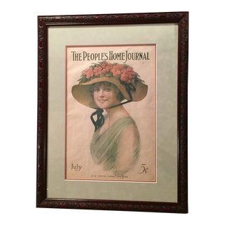 1915 Antique July People's Home Journal Magazine, Framed For Sale