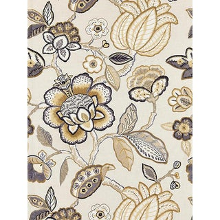 Sample, Scalamandre Coromandel Embroidery, Flax Fabric For Sale