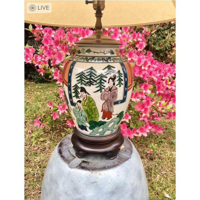 Antique Hand Painted Ginger Jar Lamp For Sale - Image 4 of 5