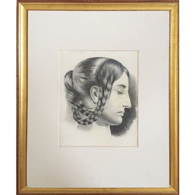 Antique French Master Drawing of Woman in Braids For Sale