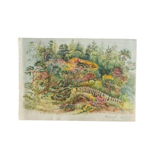 Boscombe Botanical Garden Antique Watercolor Painting For Sale