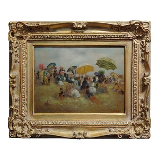 Claude Noel - French Beach Scene - Oil Painting C1840s