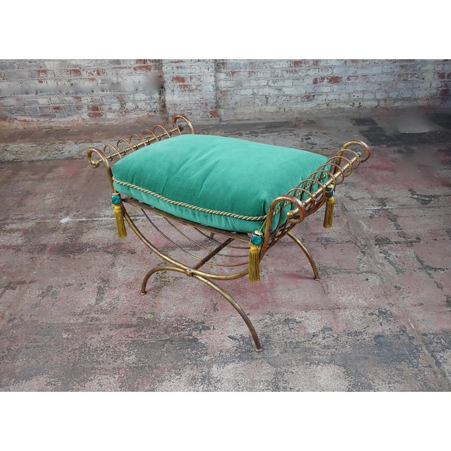 Beautiful Gilt Metal French Lady's Bench W/Velvet Pillow -C1920s For Sale - Image 10 of 10