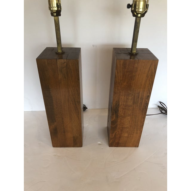 Walnut Block Form Mid-Century Modern Table Lamps -A Pair For Sale - Image 4 of 11