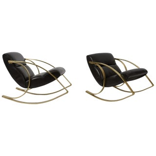1970s Brass and Black Leather Rocker Chairs Milo Baughman Style For Sale