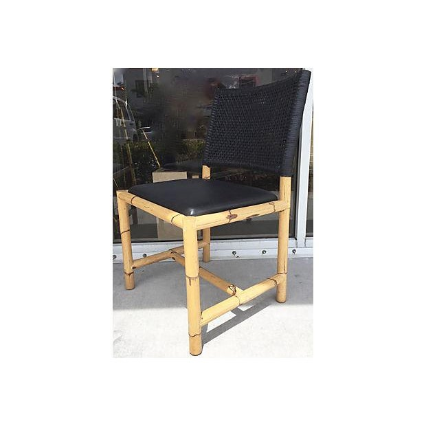 Bamboo & Leather Chairs - Set of 4 - Image 6 of 7