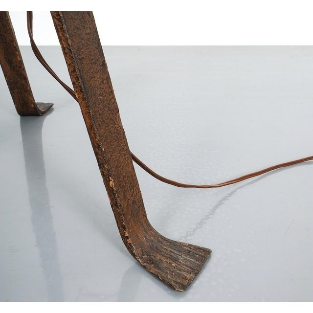 Metal Jean Touret for Atelier Marolles Wrought Iron Floor Lamp, France, Circa 1955 For Sale - Image 7 of 8