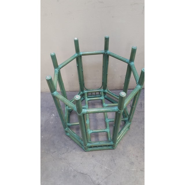 "Palm Beach Style Hexagon Side/Display Table, Tinted Pastel Green Bamboo, Great for art display or plant, Custom 1/2 ""..."