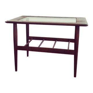 Mid-Century Danish Modern Walnut Glass Table