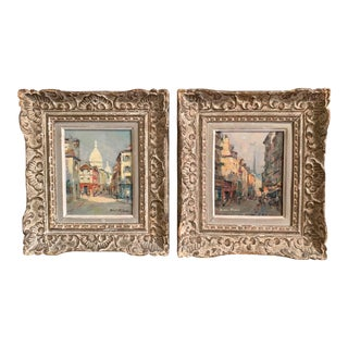 Pair of 19th Century French Oil on Canvas Paris Paintings in Carved Frames For Sale