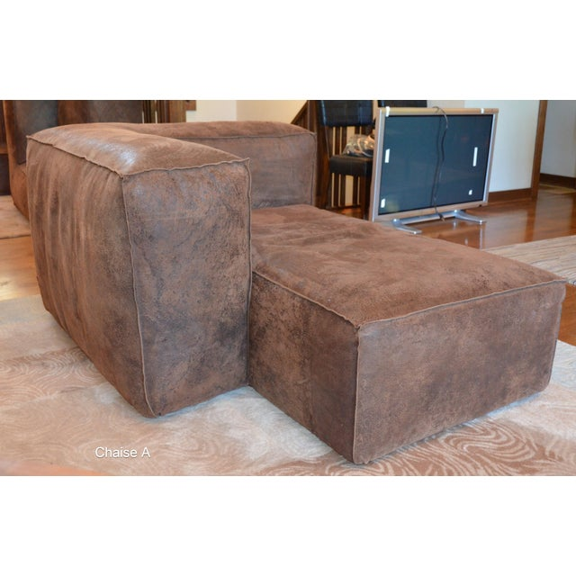 Chocolate Modern Restoration Hardware Distressed Leather Sectional with Left Chaise + One Armchair For Sale - Image 8 of 12