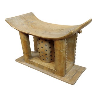 19th Century African Ashanti Hand Carved Wooden Stool For Sale