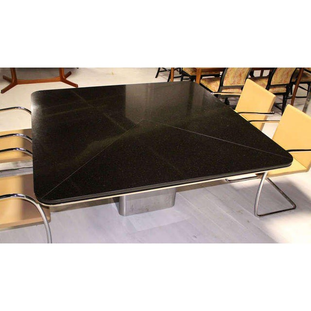 1970s 1970s Mid-Century Modern Brueton Square Granite Top and Stainless Base Dining Table For Sale - Image 5 of 10