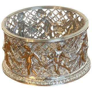 Magnificent English Silver Plated Putti Motif Large Wine Coaster, Elkington For Sale