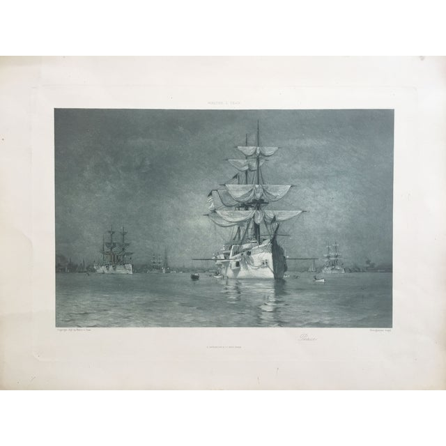 19th-C. Boston Harbor Nautical Photogravure - Image 1 of 6