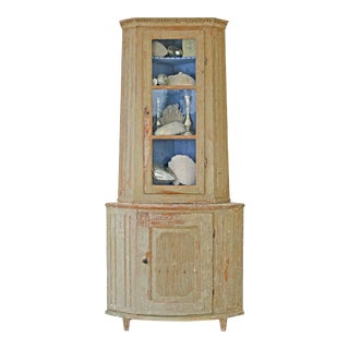 18th Century Swedish Gustavian Corner Cabinet in Original Paint For Sale
