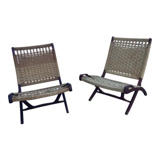 Hans Wegner Style Folding Rope Chairs - a Pair