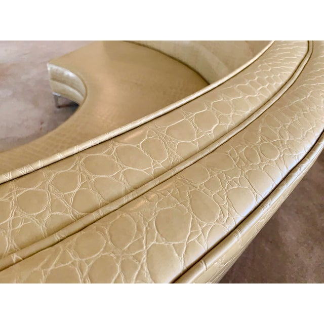 Light Yellow Semicircular Butter Sofa With Alligator Embossment For Sale - Image 8 of 13