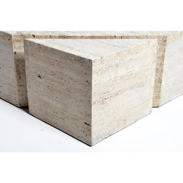 Italian Travertine Marble Three-Part Polygon Coffee Table For Sale - Image 10 of 13