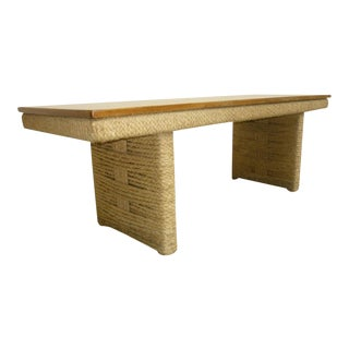 Audoux-Minet Long Coffee Table in Perfect Condition of Rope With Top in Oak For Sale