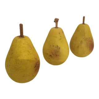 Italian Painted Stone Pears With Twig Stems - Set of 3 For Sale