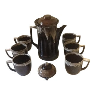 Vintage Royal Sealy Ceramic Brown Drip Glaze Coffee/Tea Pot, Cups & Sugar Bowl - Set of 8 For Sale