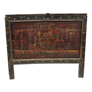 19th Century Asian Red Lacquer Tibetan Mongolian Painted Blanket Chest For Sale