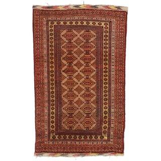 RugsinDallas Unusual Vintage Afghan Turkmen Tribal Area Rug For Sale